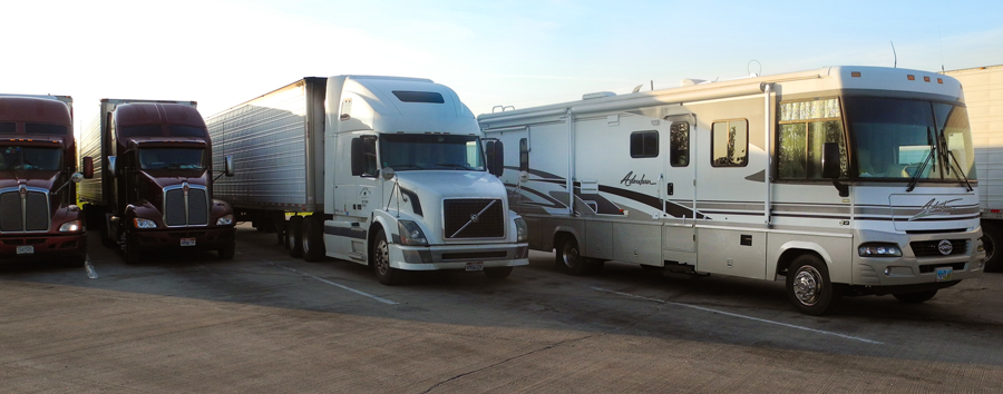 Our first morning on the road - EVER! (After a VERY noisy night.) A rest stop on I-74 on the way to Kansas City.