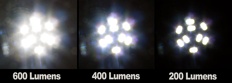 comparing the 3 levels of brightness without a dimmer the first time you turn on this bulb it is full bright at 600 lumens turn it off and on again and it